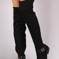 Bamboo Suede Buckled Riding Over-The-Knee Boots