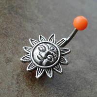 Orange Celestial Sun Silver Belly Button Jewelry Ring