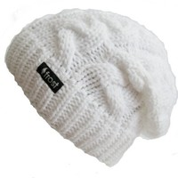 Frost Hats Winter Hat for Women WHITE Slouchy Beanie Cable Hat Knitted Winter Hat Frost Hats One Size White