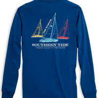 Southern Tide Tee- Three Sails- Blue Lake