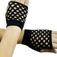 Black 80s Gothic Diamond Net Gloves