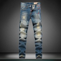Ripped Holes Men Slim Jeans [164468260893]