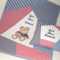 Nautical Baby Quilt,  Organic Nursery Bedding, Appliqued  Toddler Blanket and Pillow ( red, white, navy )
