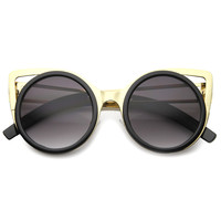 Women's Round Metal Cut Cat Eye Sunglasses A062
