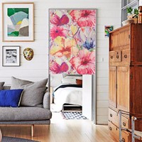 """Japanese Noren Doorway Curtain / Tapestry 33.5"""" Width x 47.2"""" Long with Bright-coloured Flowers"""