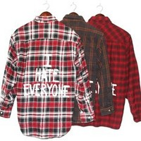 I HATE EVERYONE Vintage Flannel Shirt WARM COLORS (One of a Kind)