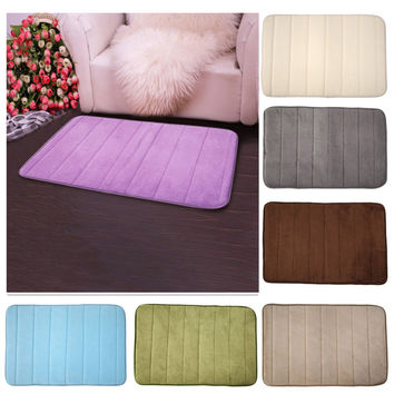 Free Shipping Memory Foam Bath Mat Bathroom Horizontal Stripes Rug Non-slip Bath Mats 7 Colors 40*60cm Bathroom Accessories