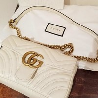 Gucci Women Shopping Leather Metal Chain GG Letter Buckle Crossbody Satchel Shoulder Bag White