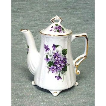 Antique Footed Wayside Pansy Porcelain Teapot