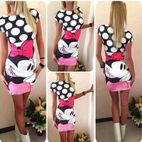 2016 Hot Sale Summer Sexy Women dress Minnie Mouse Clothing Vintage Short Sleeve Bodycon Pencil Autumn Summer Dress Plus Size