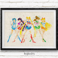 Sailor Moon Watercolor Art Print, Sailor Soldiers Room Wall Poster, Home Decor, Not Framed, Buy 2 Get 1 Free!