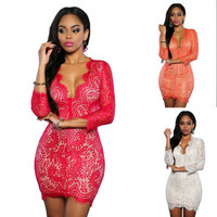 2017 Trending Fashion Summer Lace Sexy Nightclub Clubbing Party Erotic One Piece Dress _ 11230