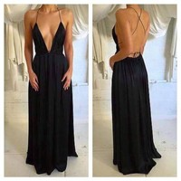 Spaghetti Straps Backless Black Party Prom Dress