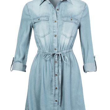 Long Sleeve Button Up Tencel Denim Shirt Dress with Adjustable Drawstring (CLEARANCE)
