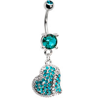 Blue Zircon Cubic Zirconia Paved Heart Belly Ring   Body Candy Body Jewelry