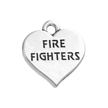 Engraved FIRE FIGHTERS Heart Charm