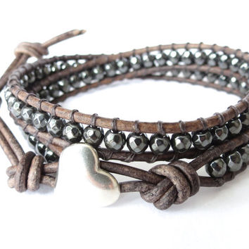 Hipster wrap bracelet with Sterling silver heart button, faceted hematite beads, glam rock jewelry, glamour girl