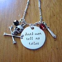 Pirates of the Caribbean Inspired Necklace. Dead men tell no tales. Pirate Necklace. Hand stamped, Swarovski Crystals, Skull and crossbones