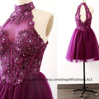 Lace Homecoming Dress, Purple Mini Prom Dresses, Grape Halter Lace Cocktail Dress, Halter Short Lace Formal Gown, Wedding Party Dress