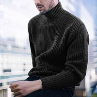 Thick Cashmere Men Turtleneck Top Sweater Pullover