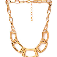 FOREVER 21 Geo Cutout Statement Necklace Gold One