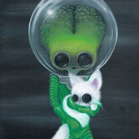 Lowbrow Sugar Fueled Mars Attacks Alien Martian Cat Kitty Keane creepy cute big eye art print