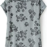 Grey Short Sleeve Floral T-Shirt