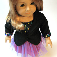 """Tulle Skirt with Lined Black Blazer, Blouse and Shoes for American Girl and other 18"""" Dolls"""