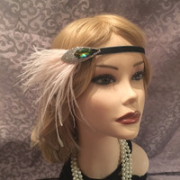 1920's gatsby green velvet multi color iridescent 20s feather flapper headband rhinestone art deco ostrich headpiece jewelry mauve (697)