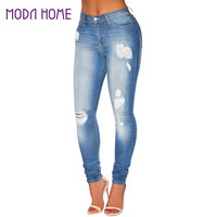High Waisted Women Ripped Jeans Denim Destroyed Frayed Hole Washed Push Up Jean Zipper Skinny Pants Pencil Trousers S-3XL SM6
