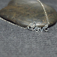 silver love necklace, sterling silver everyday necklace, minimalist necklace, love word necklace, love script necklace, letter love necklace