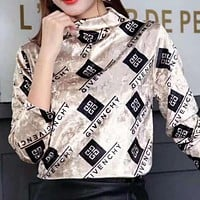 GIVENCHY Autumn Winter Trending Women Stylish Long Sleeve Pleuche Sweater Top Golden