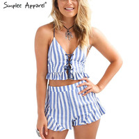 summer new style blue striped romper women jumpsuit Sleeveless strap lace up ruffle two piece playsuit