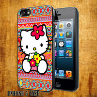 Hello kitty On Aztec Pattern Design On Hard Plastic Cover Case, IPhone 4,4S or IPhone 5 Case, Samsung Galaxy S2,S3 or S4 Case