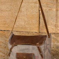 Ragon House Upcycled Gray Canvas & Leather Satchel with Coin Purse