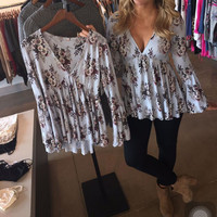 Floral V-Neck Flare Sleeve Blouse