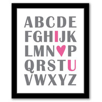 Abc I Love You Wall Art, Pink and Gray, Playroom Decor, Children's Art, Girls Room, Nursery Decor, Baby Shower, Printable, INSTANT DOWNLOAD