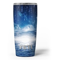 Vivid Blue Falling Stars in the Night Sky - Skin Decal Vinyl Wrap Kit compatible with the Yeti Rambler Cooler Tumbler Cups