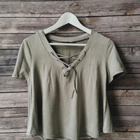 Claudia Lace Up Tee (Gray)