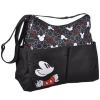 Disney Mickey Mouse Printed Mickey Heads Hobo Diaper Bag, Black/White