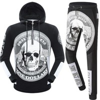 Philipp Plein Women or Men Fashion Casual Pattern Print Hooded Top Sweater Pullover Pants Trousers Set Two-Piece