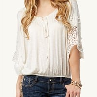Crochet Jersey Peasant Top | Tops | rue21
