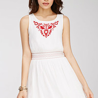 Floral Embroidered Gauze Dress