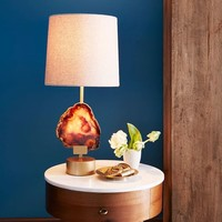 Agate Table Lamp - Antique Brass