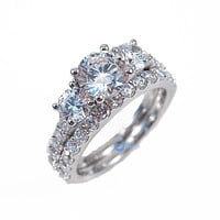 2.3ct Round Cut Three Stone Solitaire Engagement Wedding Rings Set Silver CZ