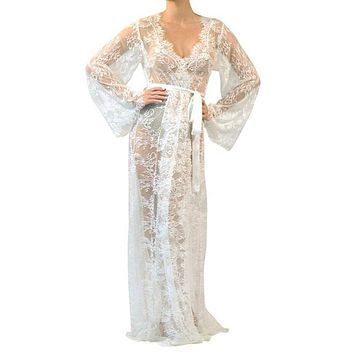 White Lace Beach Cover up Long Dress