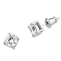 GLAMOROUS ELLE Earrings - Fashionable Sterling Silver and CZ