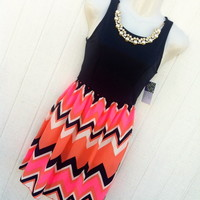 Navy chevron dress (necklace included) from PeaceLove&Jewels