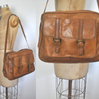 Leather Boho Satchel / honey brown purse / Ipad bag