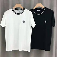 Moncler Fashion Women Men Casual Cotton T-Shirt Top White